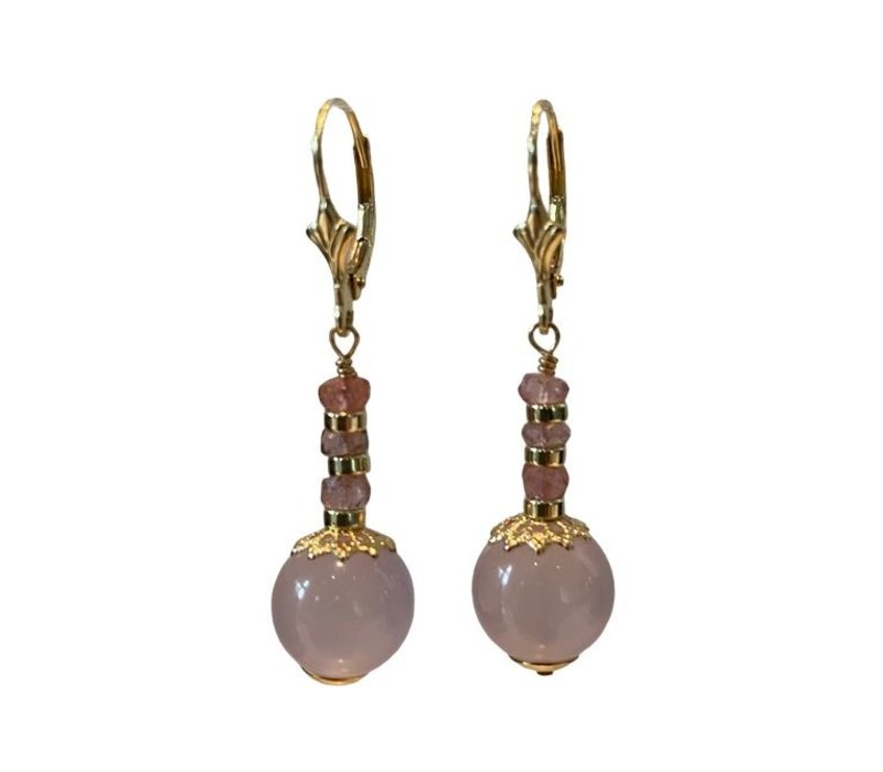 Earrings with Pink Tourmaline and Chalcedony