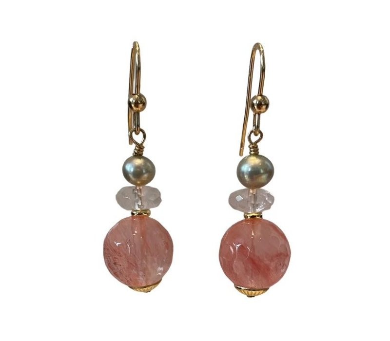 Earrings with Pearl, Rose Quartz and Strawberry Quartz