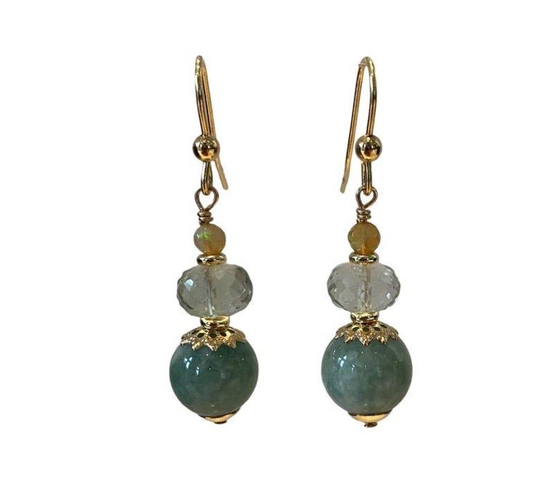 Earrings with Opal, Prahsolite and Jade