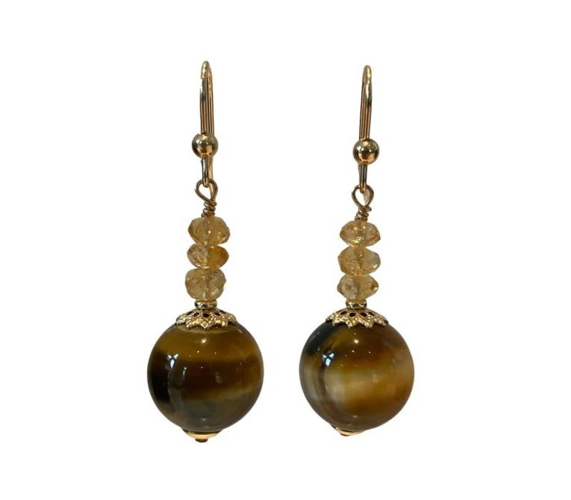 Earrings with Citrine and Tiger Eye