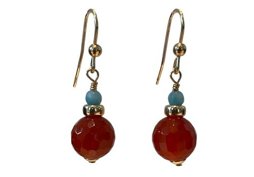 EXCLUSIVE COLLECTION Aqua, brown earring