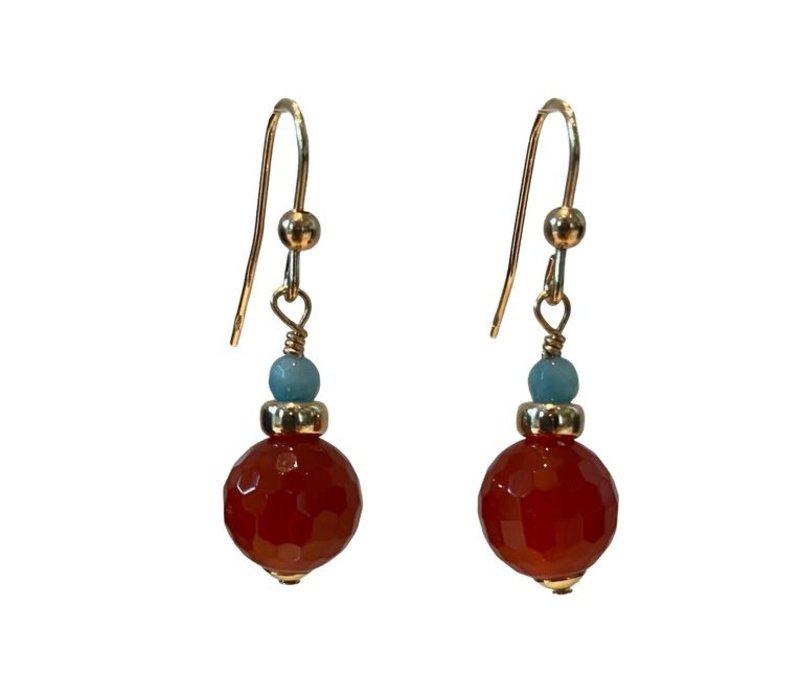 Earrings with Amazonite and Carnelian