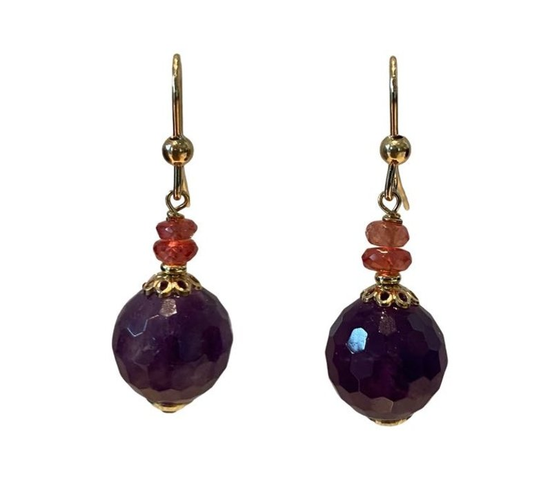 Earrings with Orange Sapphire and Amethyst