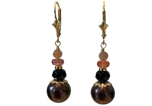 EXCLUSIVE COLLECTION Orange, brown earring