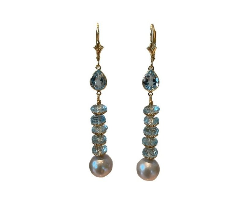 Earrings with Aquamarine, Topaz and Pearl