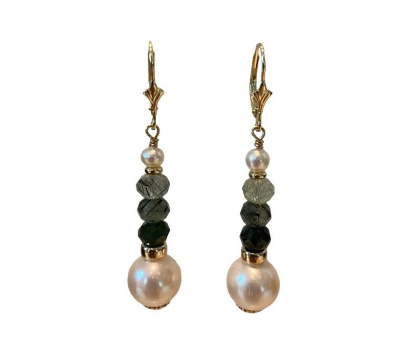 Earrings with Pearl, Moss Agate and Pearl