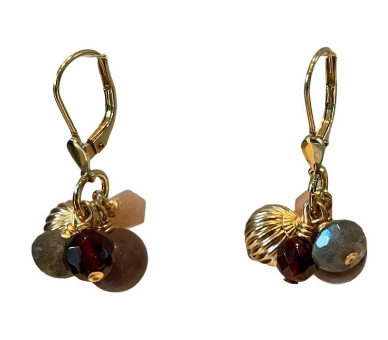 Earrings with Moonstone, Labradorite, Garnet and Aventurine