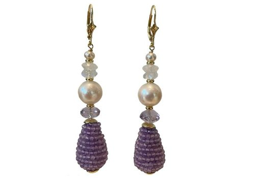 EXCLUSIVE COLLECTION White, Purple Earring