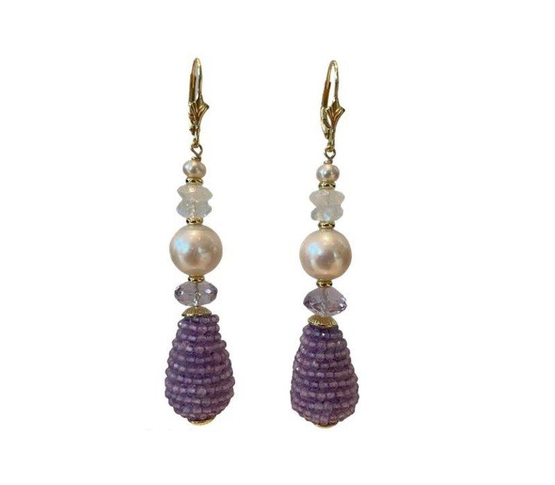 Earrings with Pearl, Moonstone, Pearl, Amethyst and Amethyst Peg