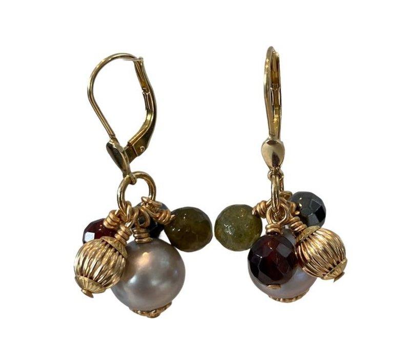 Earrings with Toumalijn, Garnet, Hematite and Pearl