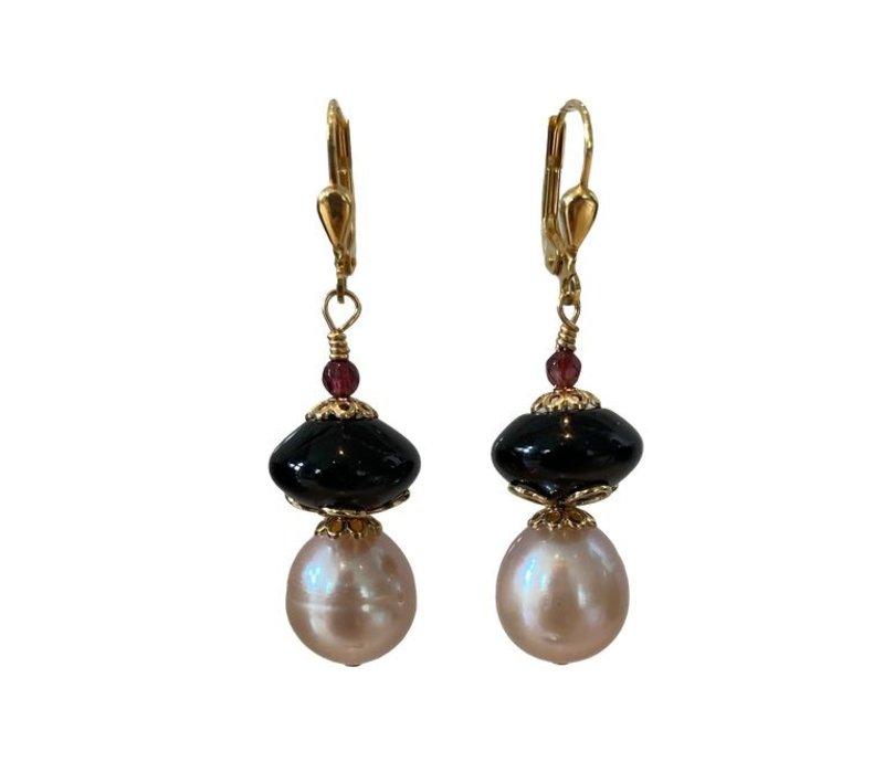 Earrings with Garnet, Onyx and Pearl
