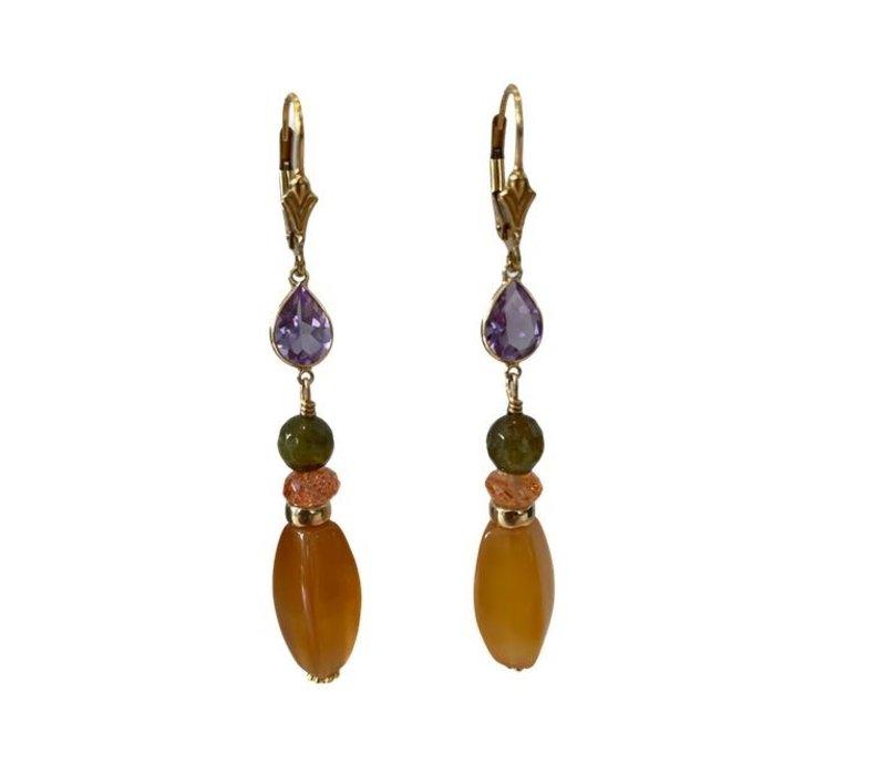 Earrings Amethyst, Tourmaline, Sandstone and Agate