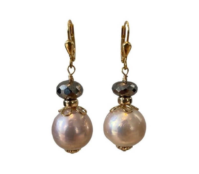 Earrings with Pyrite and Pearl from the Oyster
