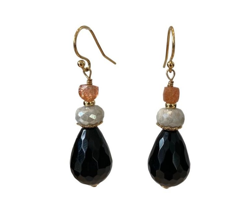 Earrings with Sandstone, Coated Aquamarine and Sandstone