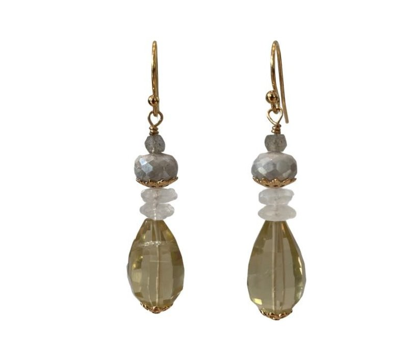 Earrings with Labradorite, coated aquamarine, moonstone and lemon quartz