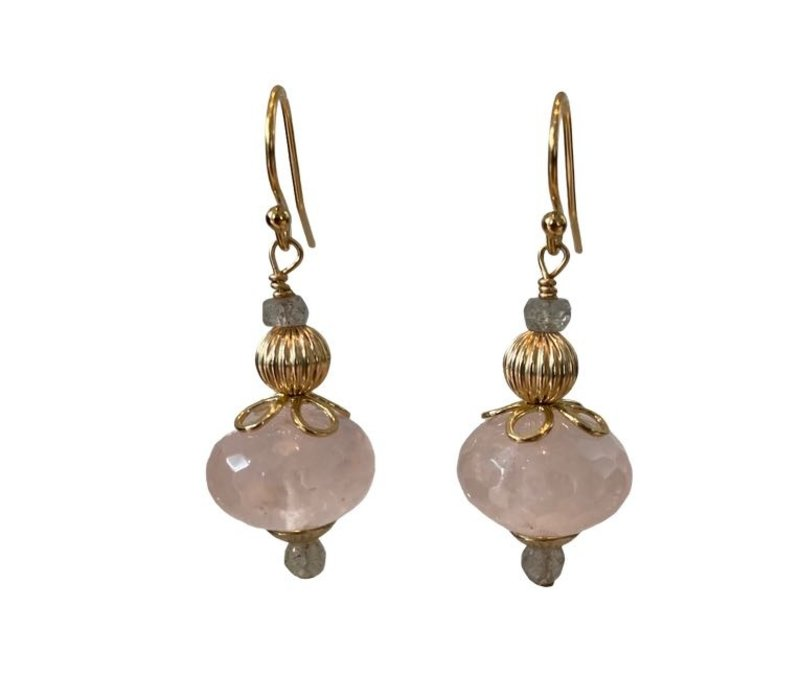 Earrings with Labradorite and Rose Quartz