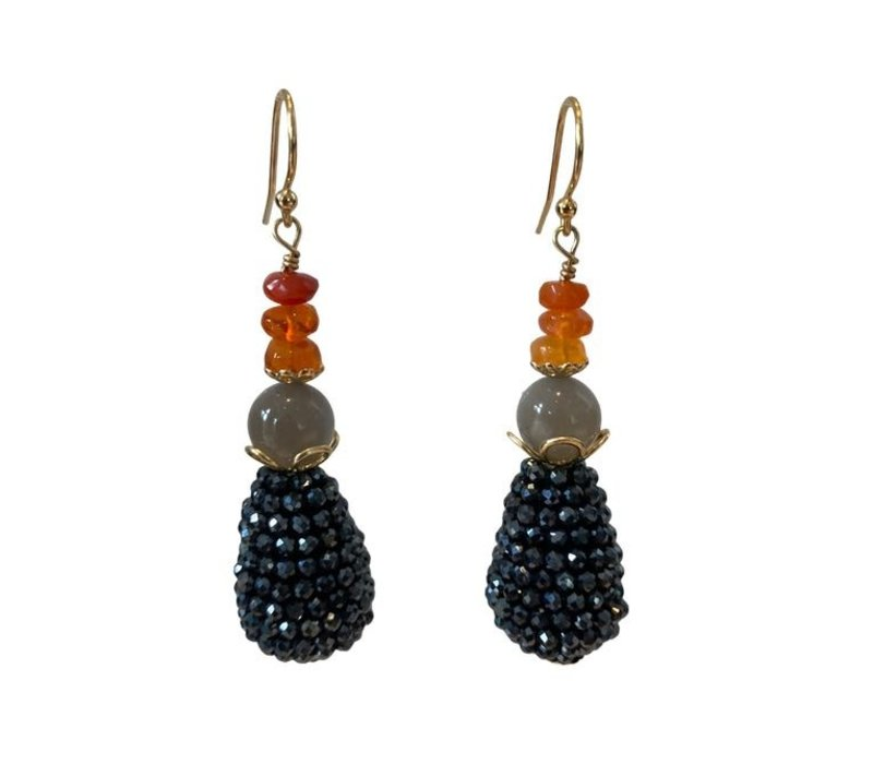 Earrings with Opal, Moonstone and Cone with Spinel