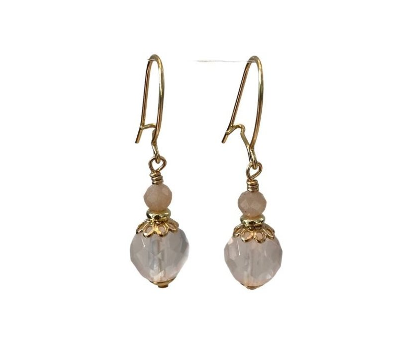 Earrings with Moonstone and Rose Quartz