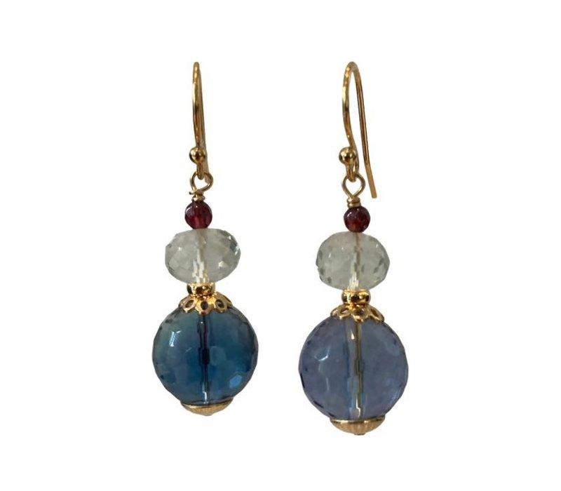 Earrings with Garnet, Prahsolite and Fluorite