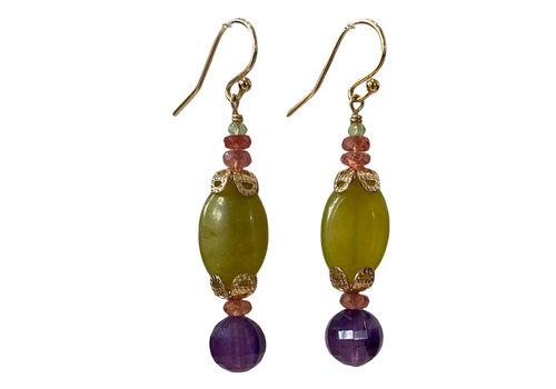 CLASSIC COLLECTION Green, Purple, Orange earrings