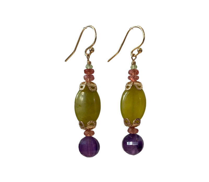 Earrings with Orange Sapphire, Amethyst and Agate