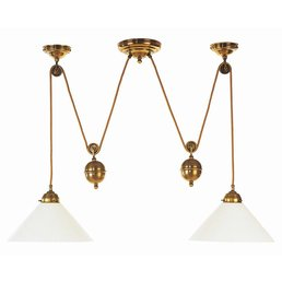 Pendellampe with weightlamp antique brass height-adjustable