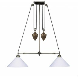Pendellampe with weight height-adjustable glass white
