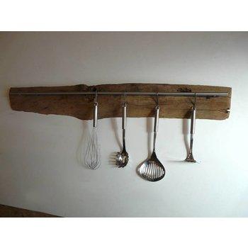Kitchen bar made of ancient timber beams