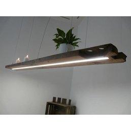 rustikale XXL LED Lampe Hängeleuchte Holz antik Balken ~ 184 cm