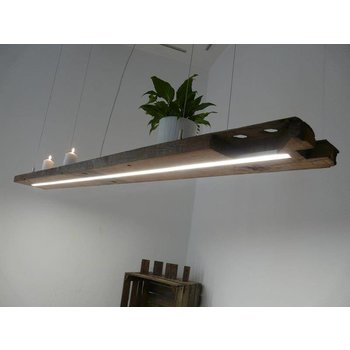 rustikale XXL LED Lampe Hängeleuchte Holz antik Balken