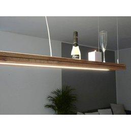 Lampe à suspension en bois de chêne huilé avec supérieure et inférieure lumière incl. Duo télécommande ~ 80 cm