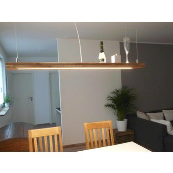 Hängelampe Holz Eiche geölt mit Ober und Unterlicht ~ 120 cm
