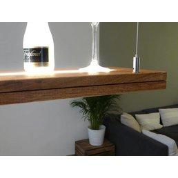 lampe suspendue chêne en bois huilé avec supérieure et inférieure lumière incl. télécommande ~ 120 cm