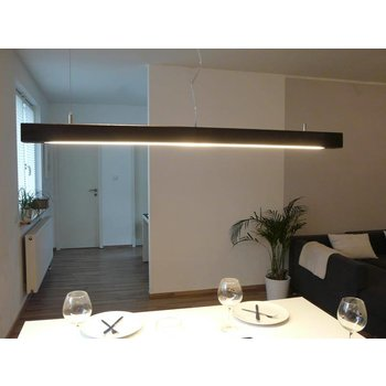 Hanging lamp walnut colored wood ~ 120 cm