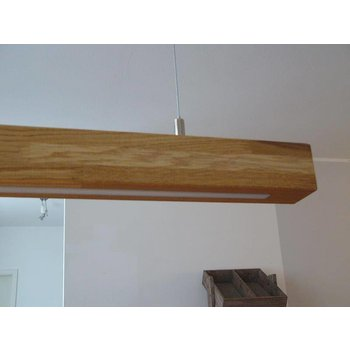 Suspension XXL chêne clair, huilé, LED blanc chaud ~ 180 cm