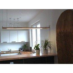 Led Hängeleuchte Holz Buche ~ 120 cm