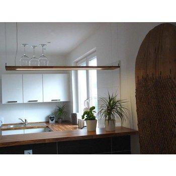 Lampe à suspension en bois d'acacia ~ 120 cm