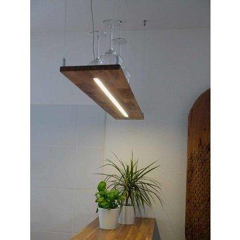 Lampe à suspension en acacia ~ 80 cm