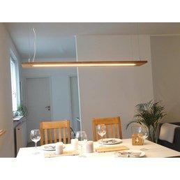 Esstischlampe Holz hängend Eiche geölt ~ 160 cm