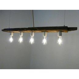 lampe LED lampe suspendue barre en bois antique ~ 110 cm