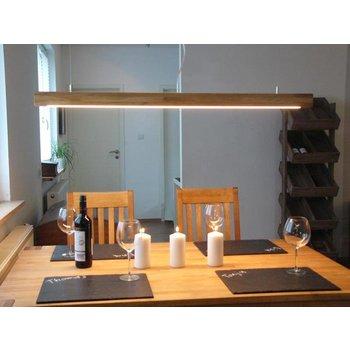 Lampe à suspension bois chêne huilé ~ 120 cm
