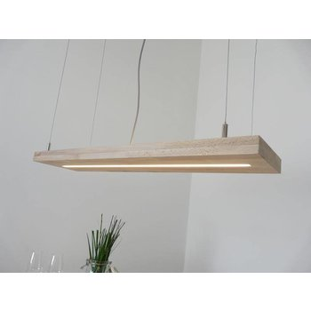 Hanging lamp beech wood with upper and lower light