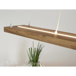 Hanging lamp wood acacia with upper and lower light, incl. Remote control ~ 80 cm