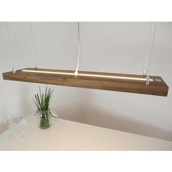 Lampe à suspension en bois d'acacia avec éclairage supérieur et inférieur ~ 120 cm