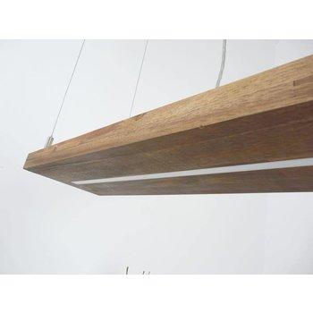Suspension en bois d'acacia avec lumière supérieure et inférieure ~ 120 cm