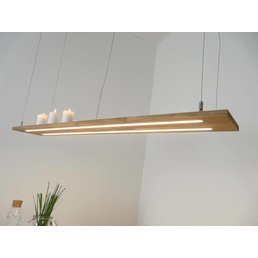 Lampe à suspension bois clair, chêne naturel huilé ~ 120 cm