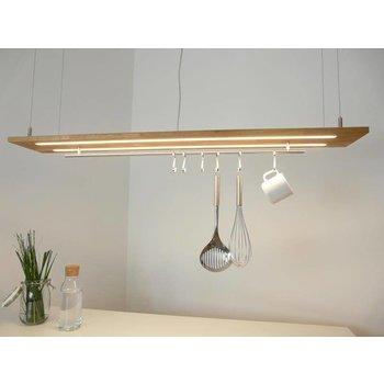 Hängelampe Leuchte Holz Eiche natur geölt ~ 120 cm
