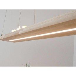 Lampe à suspension en bois de hêtre avec éclairage supérieur et inférieur ~ 160 cm