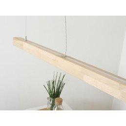 Lampe suspendue en bois clair hêtre avec télécommande duo ~ 120 cm