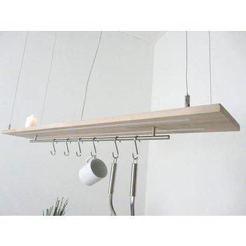 Lampe suspendue bois clair hêtre ~ 120 cm